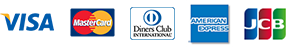 VISA、MasterCard、DinersClub、AMERICAN EXPRESS、JCB